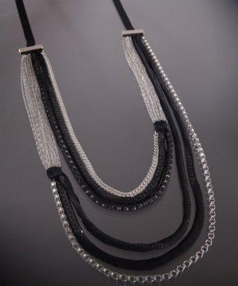 Elie Tahari black chiffon and chain 'Elyse' layered necklace