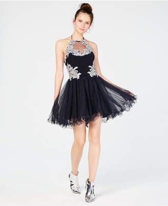 Blondie Nites Juniors' Embroidered Colorblocked Dress
