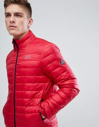 Jack Wills Wilton Lightweight Down Puffer In Red