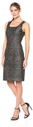 Kasper Women's Metallic Floral Printed Jacquard Square Neck Dress