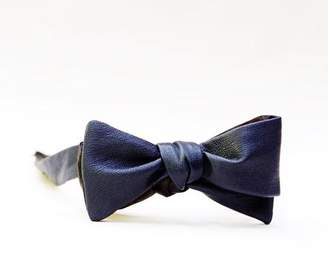 Blade + Blue Navy Blue Leather Bow Tie