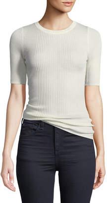 Alexander Wang Rib-Knit Short-Sleeve Top