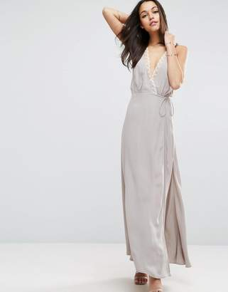 Asos Lace Insert Cami Wrap Maxi Dress