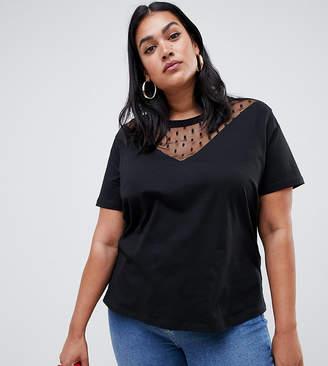 Asos DESIGN Curve t-shirt with dobby mesh chevron insert