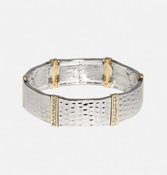 Avenue Textured Metal Rhinestone Trim Bracelet