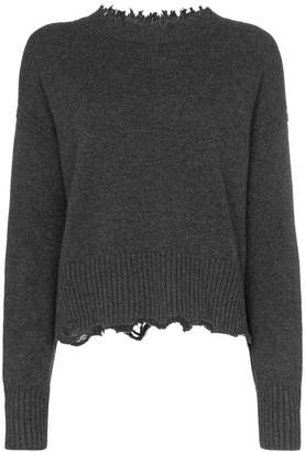 Helmut Lang distressed long sleeve wool-blend jumper