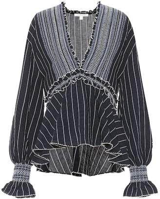 Jonathan Simkhai Striped rayon blouse