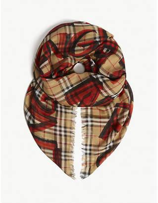 Burberry Graffiti print check wool-blend scarf
