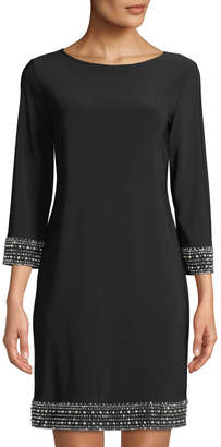 Neiman Marcus Embellished-Trim Jersey Sheath Dress