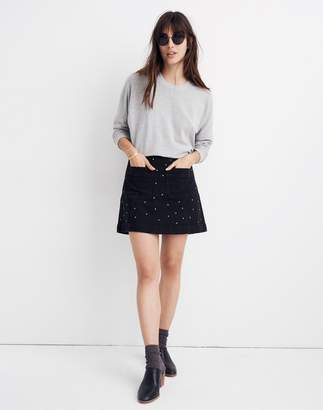 Madewell Stretch Denim A-Line Mini Skirt: Star Stud Edition