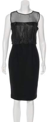 L'Agence Leather-Accented Sheath Dress w/ Tags