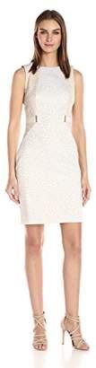 Calvin Klein Women's Jacquard Sheath Dress with Waist Hardware