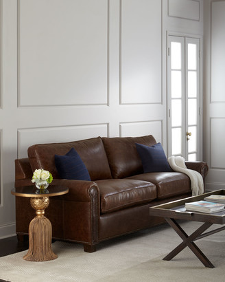 Massoud Shields Leather Sleeper Sofa