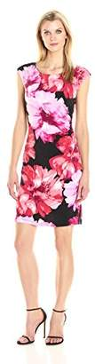 Ronni Nicole Women's Cap Sleeve Large Floral Side Drape Dress