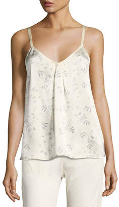 Vince Two-Tone Floral-Print Silk Camisole Top, Sheepskin