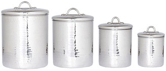 One Kings Lane Set of 4 Assorted Hammered Canisters - Silver
