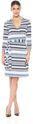 Lark & Ro Women's Three Quarter Sleeve Patterned Wrap Dress