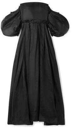Loewe Off-the-shoulder Leather And Linen-trimmed Cotton-organza Gown - Black