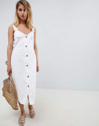 Asos Design DESIGN dungaree lattice side button through midi dress with buckles