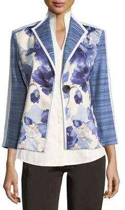 Misook Watercolor Floral Stripe-Sleeve Jacket