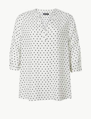 Marks and Spencer CURVE Polka Dot V-Neck 3/4 Sleeve Blouse
