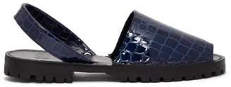Goya - Crocodile Effect Leather Slingback Sandals - Womens - Navy