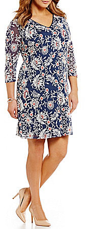 Adrianna Papell Adrianna Papell Plus Long-Sleeve Floral Shift Dress