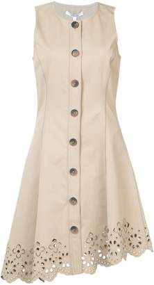 Derek Lam 10 Crosby Sleeveless Button Down Dress With Scalloped Hem