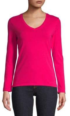 Lord & Taylor Petite Long-Sleeve V-Neck Tee