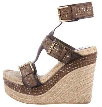 Alexander McQueen Leather-Trimmed Espadrille Wedges
