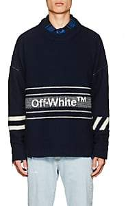 Off-White Men's Logo-Jacquard Wool Sweater - Navy