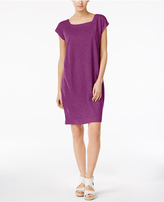 Eileen Fisher Organic Cotton-Blend Square-Neck Shift Dress $158 thestylecure.com
