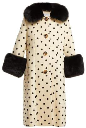 Saks Potts - Yvonne Single Breasted Polka Dot Wool Coat - Womens - White Black