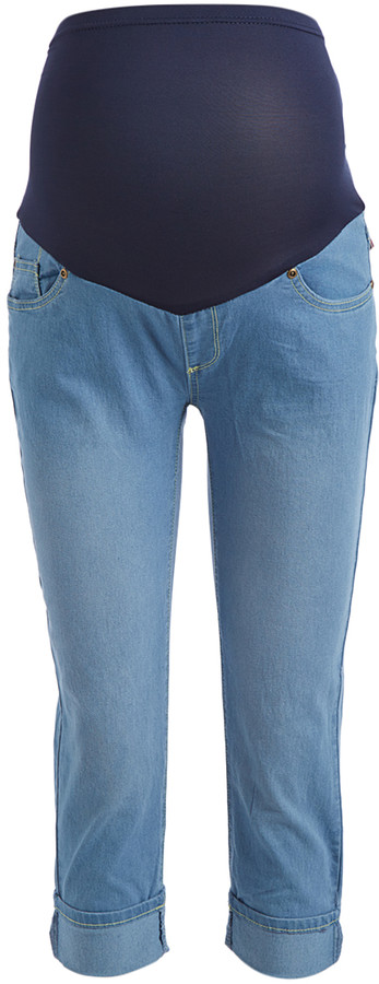 Light Rinse Cuffed Over-Belly Maternity Capri Jeans