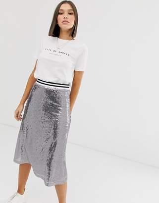 NA-KD Na Kd sequin midi skirt in silver