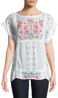 Johnny Was Austina Short-Sleeve Embroidered Top, Plus Size