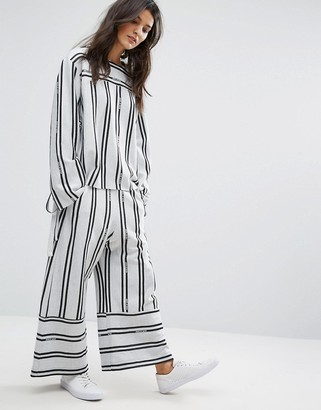 House Of Sunny Contrast Stripe Wide Leg Trousers Co-Ord