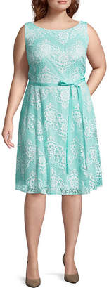Danny & Nicole Sleeveless Floral Fit & Flare Belted Dress - Plus