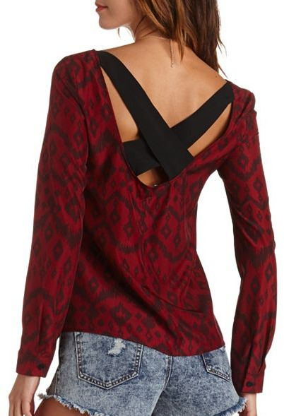 Charlotte Russe Backless Ikat Print Top