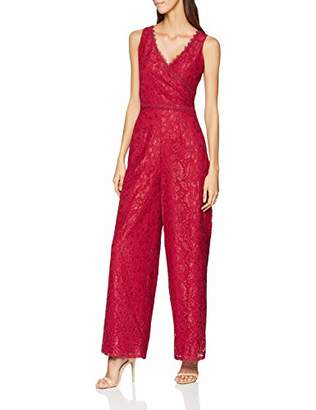 69ea7cf04045 Little Mistress Women s Red Jumpsuit Wide-Leg Plain V-Neck Sleeveless  Jumpsuit