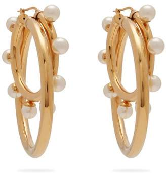 Peter Pilotto Faux Pearl Double Hoop Earrings - Womens - Gold