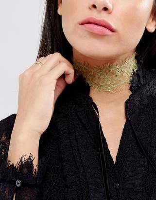 Johnny Loves Rosie Festival Gold Lace Choker Necklace