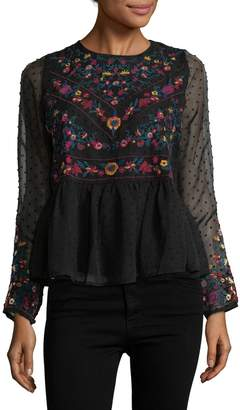 Allison Collection Women's Embroidered Peplum Top