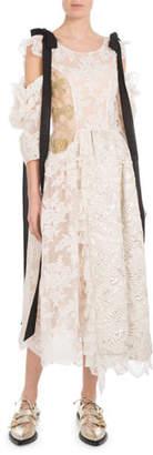Simone Rocha Scoop-Neck Bow Cold-Shoulder Brocade Lace Calf-Length Dress