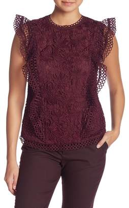 Ted Baker Ruffle Mixed Lace Top