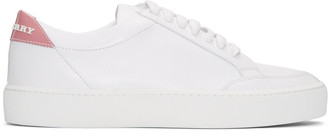 Burberry White Leather Salmond Sneakers $395 thestylecure.com