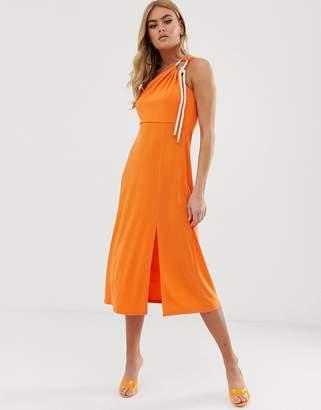 4f962eafc752 Asos Design DESIGN slinky one shoulder midi dress with rope detail