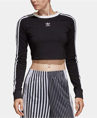 b1866a8694ab57 adidas 3-Stripe Trefoil Long-Sleeve Top