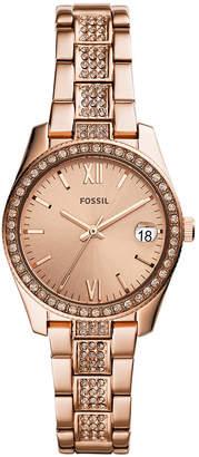 Fossil Women Scarlette Rose Gold-Tone Stainless Steel Bracelet Watch 28mm