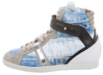 Barbara Bui Swoop Denim High-Top Sneakers